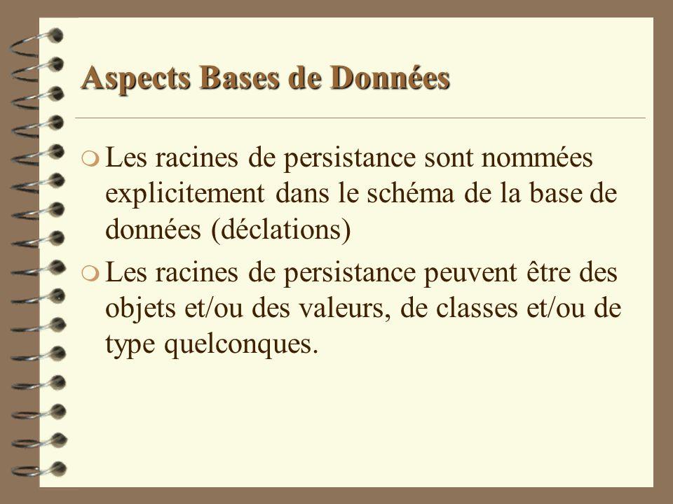 Aspects Bases de Données m Les racines de persistance sont nommées explicitement dans le schéma de la base de données (déclations) m Les racines de pe