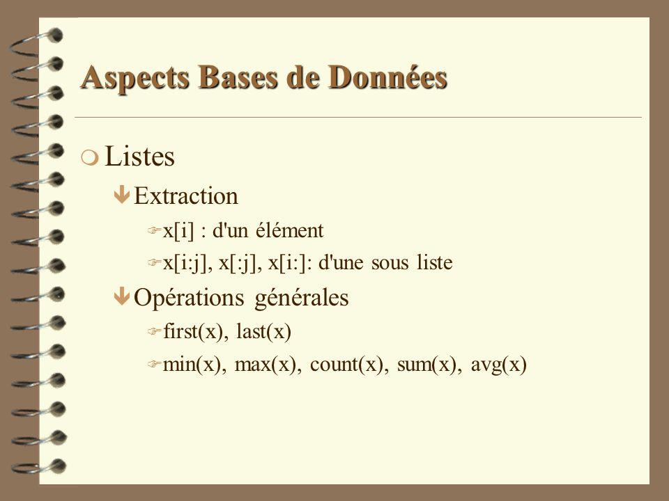 Aspects Bases de Données m Listes ê Extraction F x[i] : d'un élément F x[i:j], x[:j], x[i:]: d'une sous liste ê Opérations générales F first(x), last(