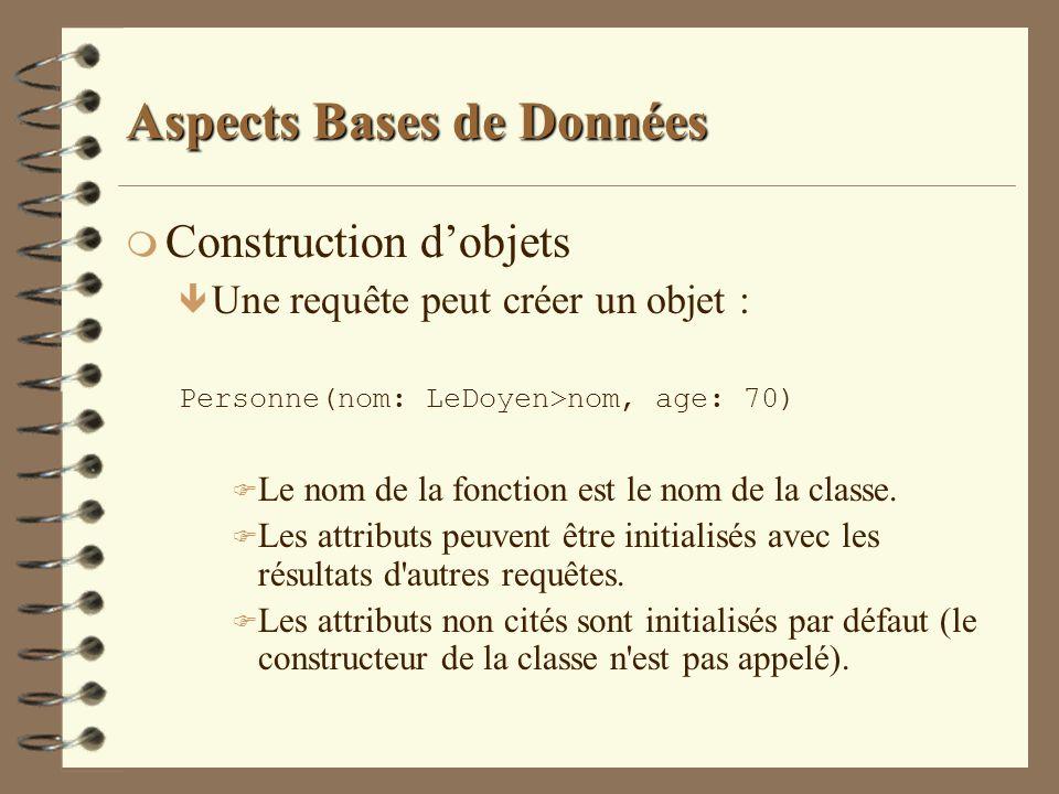 Aspects Bases de Données m Construction dobjets ê Une requête peut créer un objet : Personne(nom: LeDoyen>nom, age: 70) F Le nom de la fonction est le