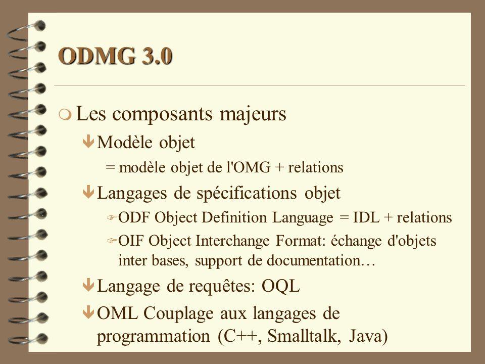 ODMG 3.0 m Les composants majeurs ê Modèle objet = modèle objet de l'OMG + relations ê Langages de spécifications objet F ODF Object Definition Langua