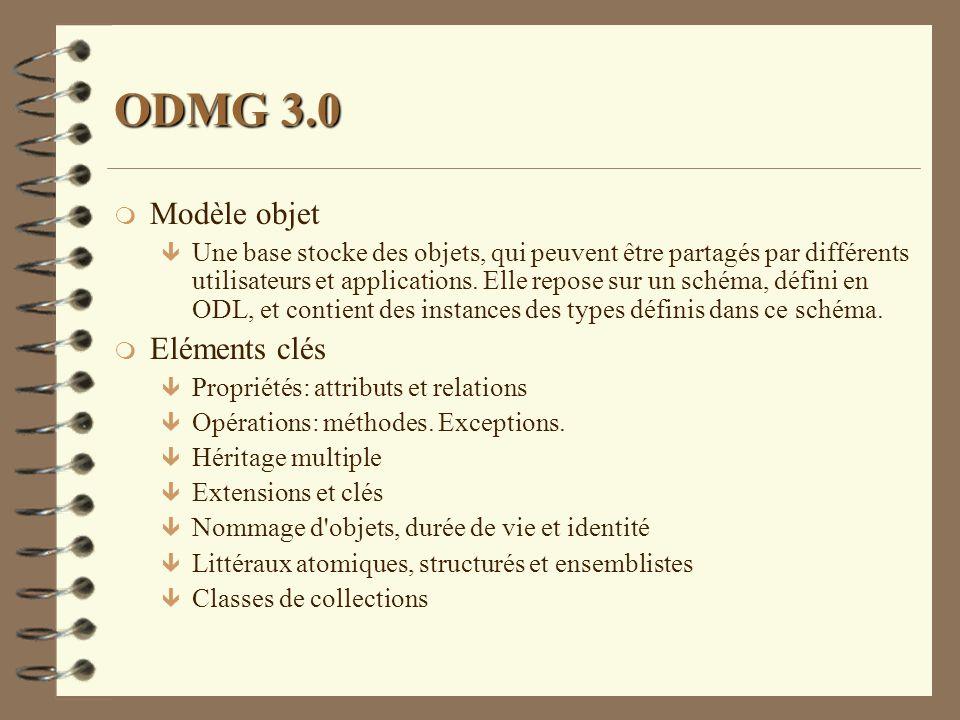 ODMG 3.0 m Modèle objet ê Une base stocke des objets, qui peuvent être partagés par différents utilisateurs et applications. Elle repose sur un schéma