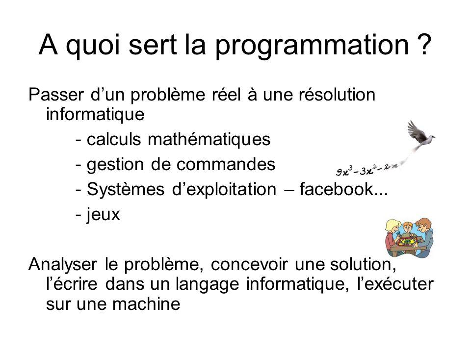 Les commandes Compilation : javac La compilation génère à partir du code java un binaire que la machine saura exécuter La compilation vérifie les erreurs de syntaxe java Exécution : java Lexécution exécute un binaire Les erreurs de programmation peuvent entrainer des erreurs dexécution public static void main(String[] args) javac ClasseAtester.java -> erreurs ou création du fichier ClasseAtester.class javac TestDEClasseAtester.java -> erreurs ou création du fichier TestDeClasseAtester.class java TestDeClasseAtester -> erreurs et/ou exécution du code