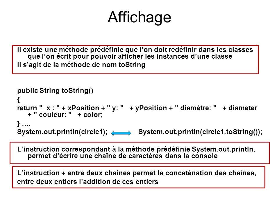 Affichage Il existe une méthode prédéfinie que lon doit redéfinir dans les classes que lon écrit pour pouvoir afficher les instances dune classe Il sa
