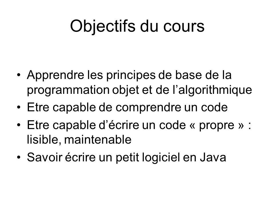 Objectifs du cours Apprendre les principes de base de la programmation objet et de lalgorithmique Etre capable de comprendre un code Etre capable décr