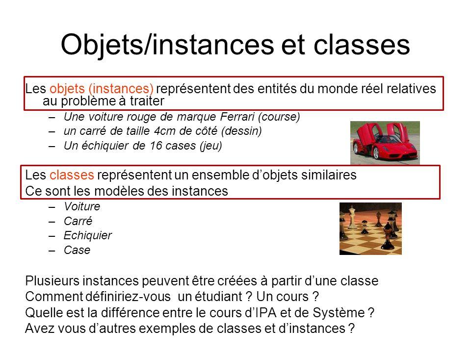 Les objets (instances) représentent des entités du monde réel relatives au problème à traiter –Une voiture rouge de marque Ferrari (course) –un carré