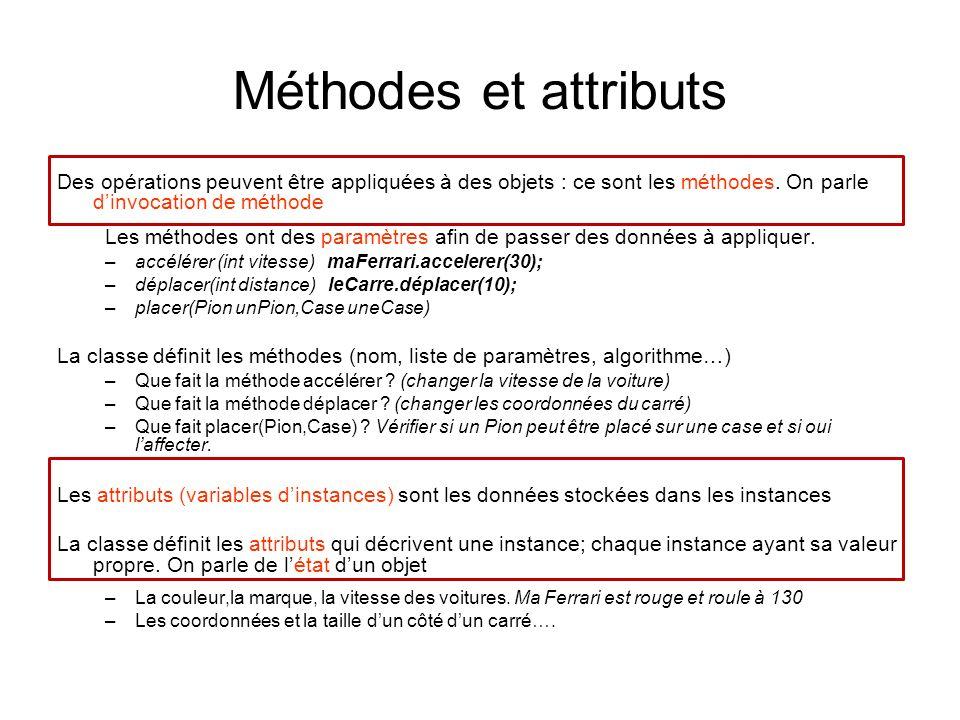 Invocation de méthode Invoquer une méthode sur une instance : exécuter les instructions écrites dans le corps dune méthode avec les paramètres effectifs Lopérateur est le.