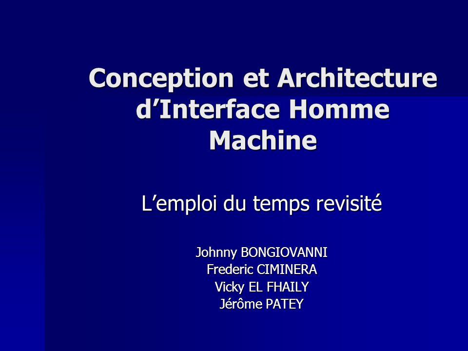 Conception et Architecture dInterface Homme Machine Lemploi du temps revisité Johnny BONGIOVANNI Frederic CIMINERA Vicky EL FHAILY Jérôme PATEY