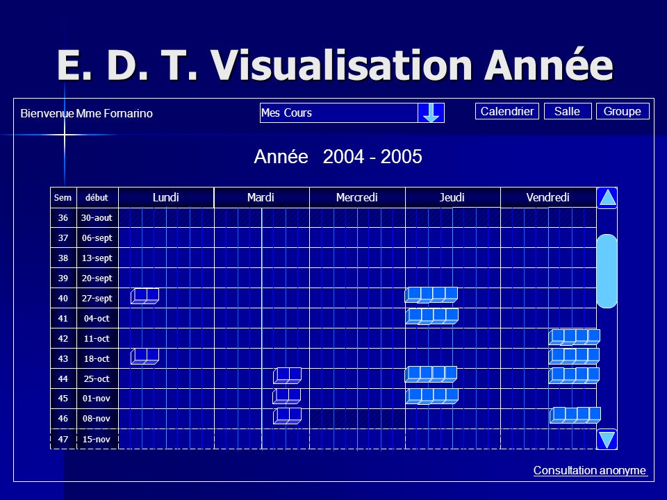 E. D. T. Visualisation Année Consultation anonyme Année 2004 - 2005 Mes Cours Bienvenue Mme Fornarino GroupeSalleCalendrier