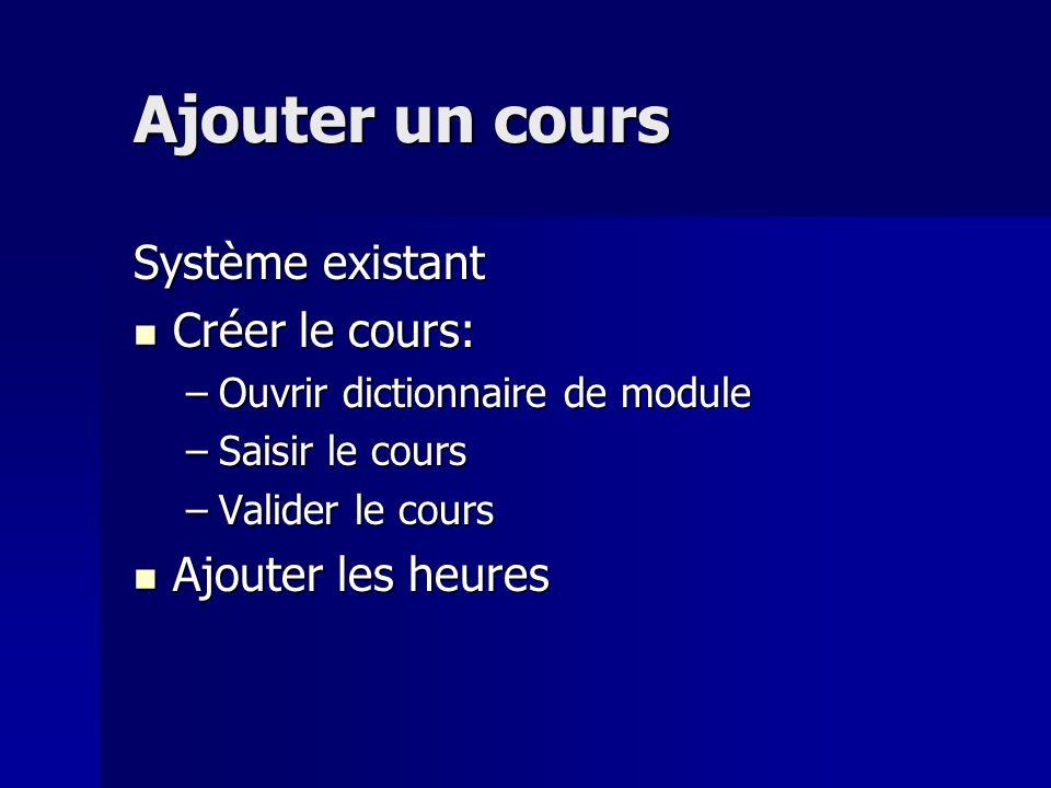 Ajouter un cours Système existant Créer le cours: Créer le cours: –Ouvrir dictionnaire de module –Saisir le cours –Valider le cours Ajouter les heures Ajouter les heures