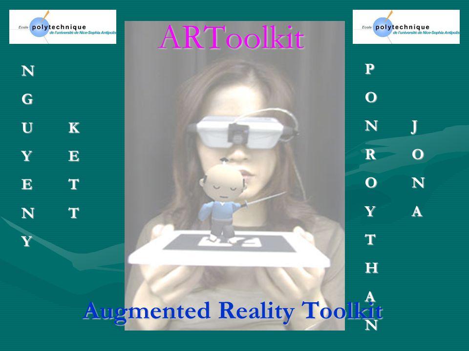 Améliorations Site sur ARToolkit Plus : Site sur ARToolkit Plus : – – Amélioration sur conditions de luminosité http://studierstube.icg.tu- graz.ac.at/handheld_ar/artoolkitplus.php Real-time Augmented Reality: Real-time Augmented Reality: – – Système de tracking robuste http://www.cv.iit.nrc.ca/research/ar NGUYEN Ketty & PONROY Jonathan= 22 = Quest-ce Architecture Installation Développement Possibilités Limitations Outils Demo