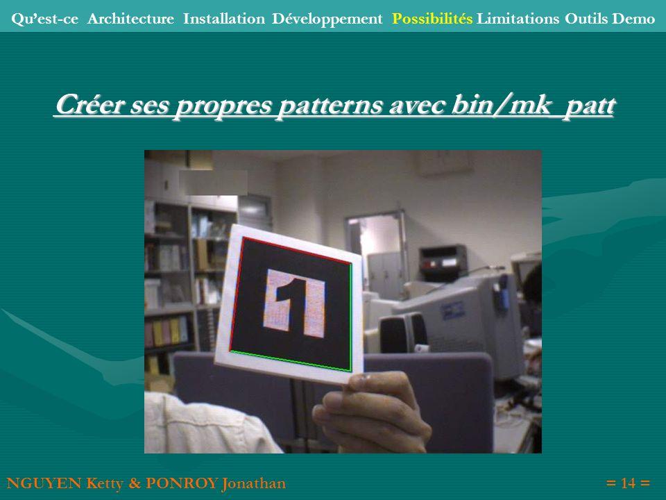 Créer ses propres patterns avec bin/mk_patt NGUYEN Ketty & PONROY Jonathan= 14 = Quest-ce Architecture Installation Développement Possibilités Limitat