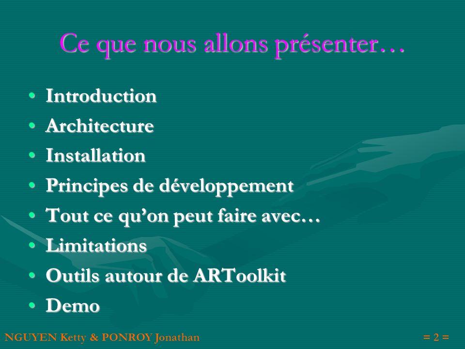 Ce que nous allons présenter… Introduction Introduction Architecture Architecture Installation Installation Principes de développement Principes de dé