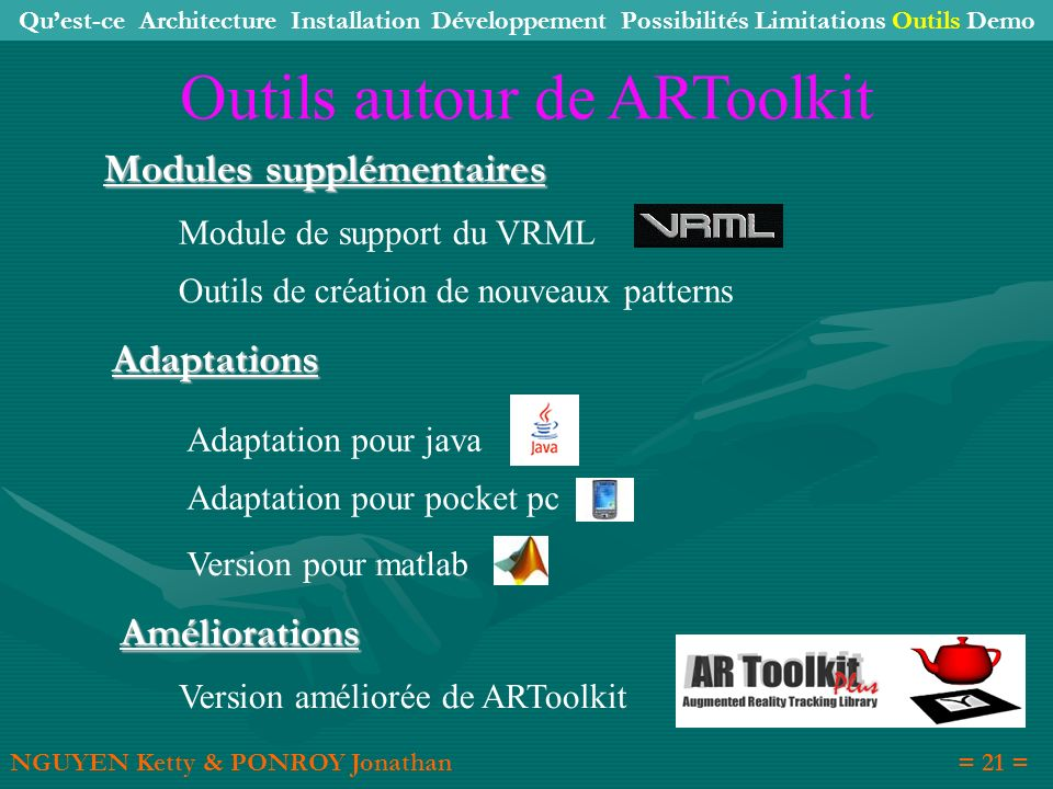 Outils de création de nouveaux patterns Modules supplémentaires Adaptations Améliorations Module de support du VRML Adaptation pour java Adaptation po
