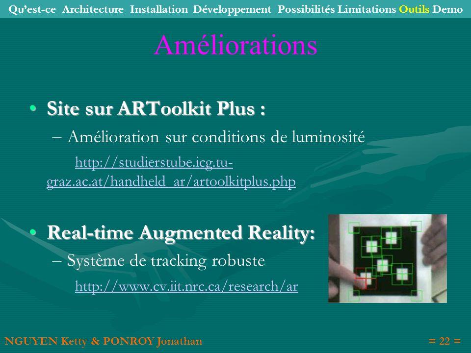 Améliorations Site sur ARToolkit Plus : Site sur ARToolkit Plus : – – Amélioration sur conditions de luminosité http://studierstube.icg.tu- graz.ac.at