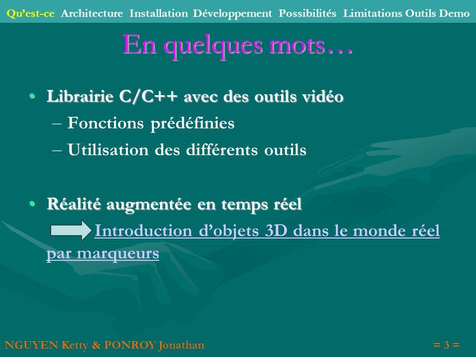 En quelques mots… Librairie C/C++ avec des outils vidéo Librairie C/C++ avec des outils vidéo – – Fonctions prédéfinies – – Utilisation des différents