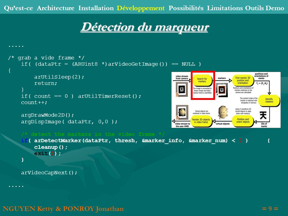 Détection du marqueur..... /* grab a vide frame */ if( (dataPtr = (ARUint8 *)arVideoGetImage()) == NULL ) { arUtilSleep(2); return; } if( count == 0 )