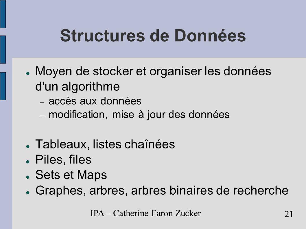 IPA – Catherine Faron Zucker 22 Tableaux suite ordonnée d éléments de taille fixe int [] tableau = new int[10]; premier élément : tableau[0] dernier élément : tableau[tableau.length -1] i ième élément : tableau[i-1] init./modif.