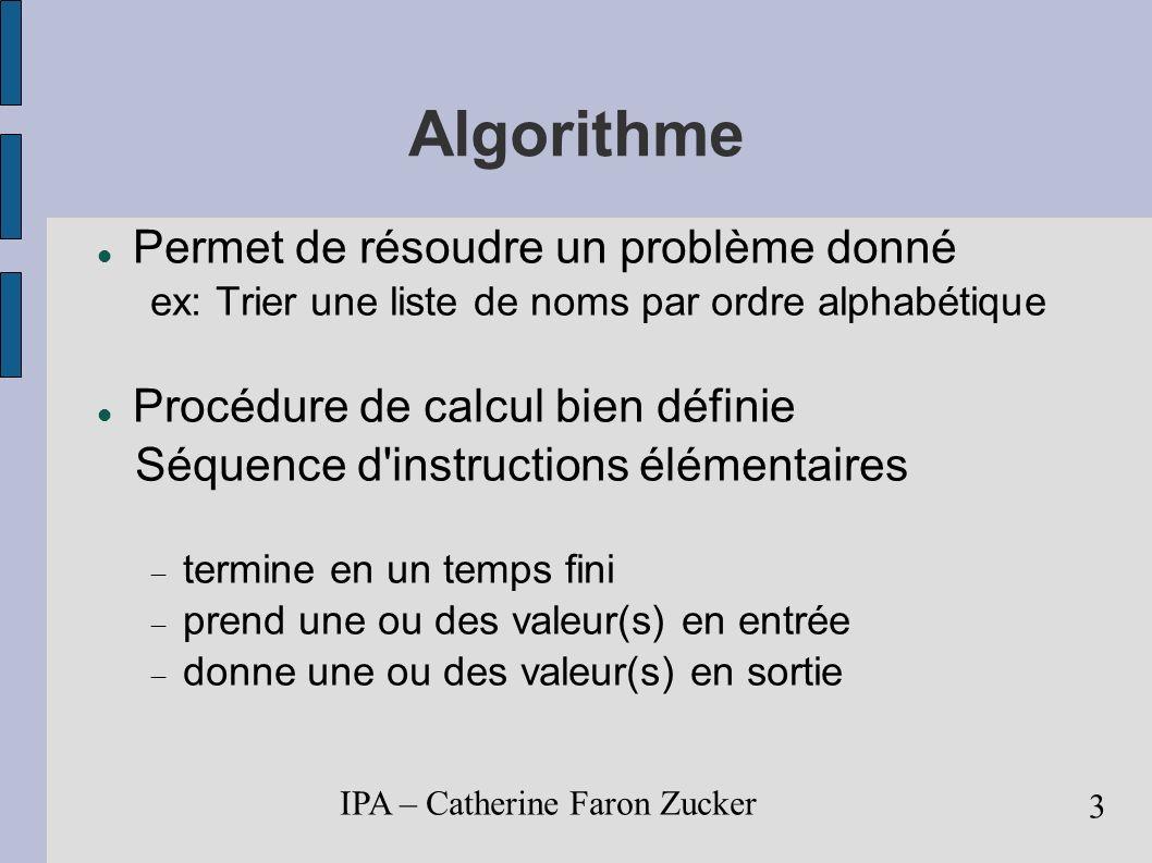 IPA – Catherine Faron Zucker 4 Exemple Exemple de problème à résoudre Comment trier une liste d élèves par ordre alpha.
