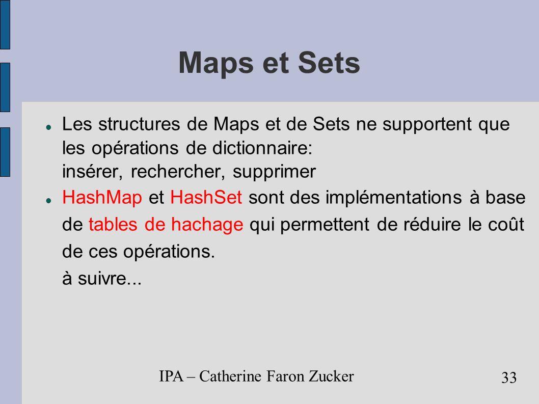 IPA – Catherine Faron Zucker 34 Structures de données listes chaînées : cf.