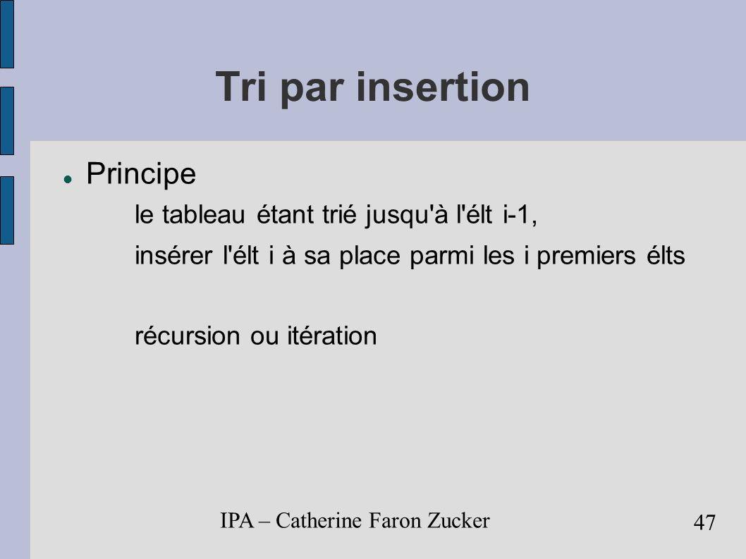 IPA – Catherine Faron Zucker 48 Tri par insertion Algorithme itératif Pour i de 1 à n-1 Faire val <- tab[ i ] j <- i-1 TantQue j >= 0 et tab[ j ] > val Faire tab [ j+1] <- tab [ j ] j <- j - 1 FinTantQue tab [ j+1 ] <- val