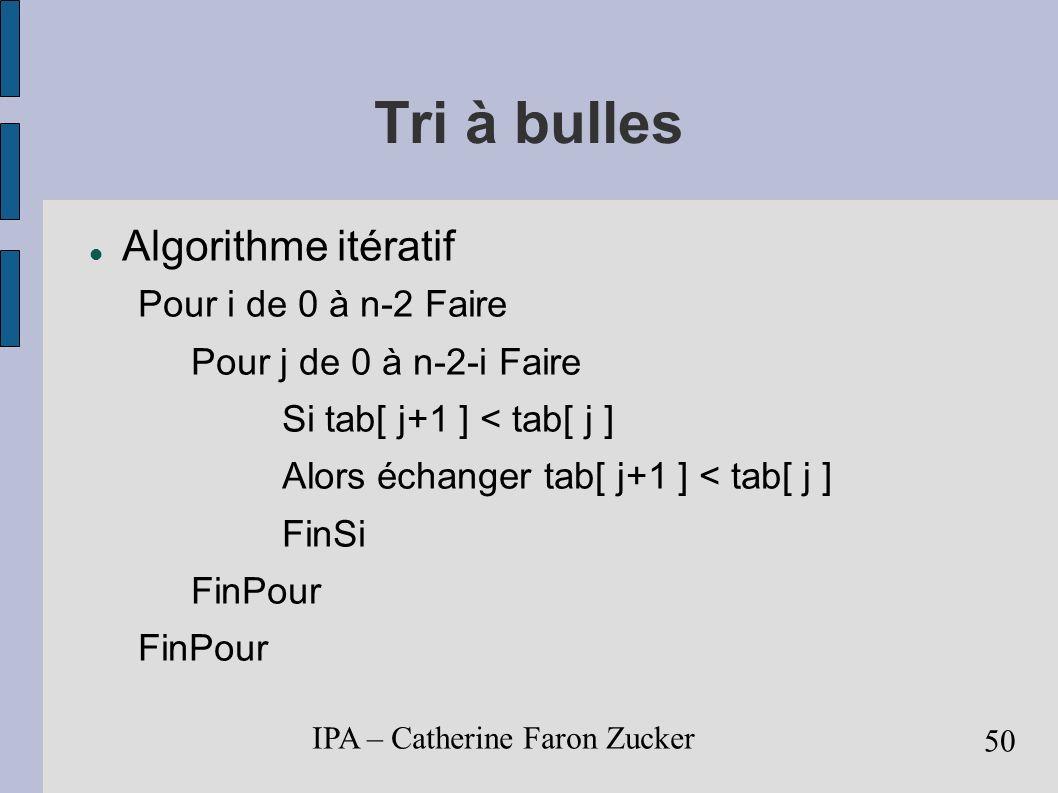 IPA – Catherine Faron Zucker 51 Tri Fusion Principe divide and conquer division du tableau en 2 sous-tableaux tri récursif des 2 sous-tableaux fusion des 2 sous-tableaux Le coeur de l algorithme est la fusion des 2 sous-tableaux triés