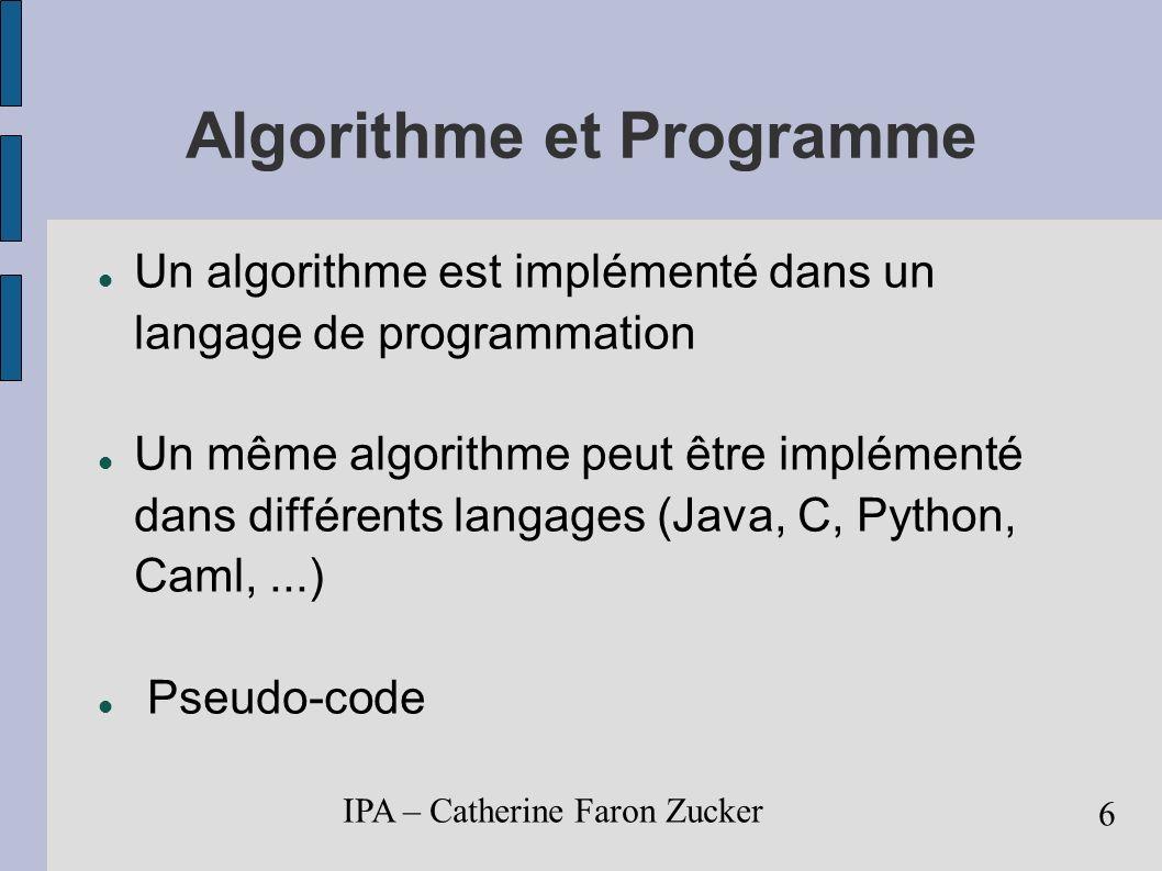 IPA – Catherine Faron Zucker 7 Validité d un algorithme Précondition doit être vérifiée avant un traitement donné, garantit que la possibilité de déroulement du traitement.