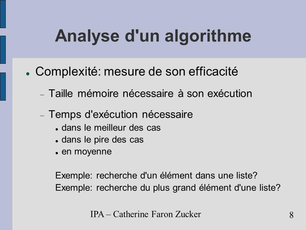 IPA – Catherine Faron Zucker 9 Efficacité d un algorithme Temps d exécution fonction de la taille des données en entrée choix du bon paramètre taille d une liste, degré d un polynôme taille d une matrice.