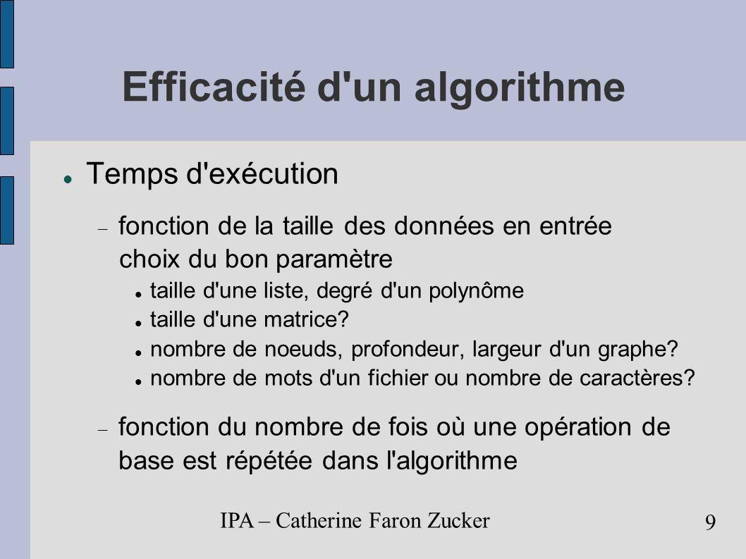 IPA – Catherine Faron Zucker 10 Efficacité d un algorithme Temps d exécution: T(n) C(n) t C(n) nombre de fois où l opération de base de l algorithme est exécutée t temps d exécution de cette opération de base C(n) = ½ n (n-1) = ½ n 2 - ½ n Ordre de grandeur: C(n) n 2