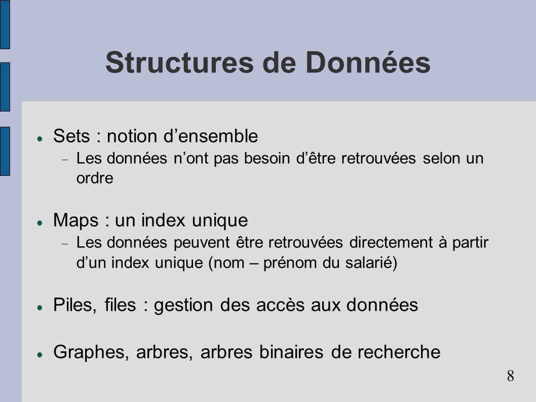 9 Structures de contrôle Structures de contrôle conditionnelles Si cond Alors instr FinSi Si cond Alors instr sinon instr FinSi (imbrications possibles) Structures de contrôle itératives TantQue cond Faire instr FinTantQue variantes (imbrications possibles)