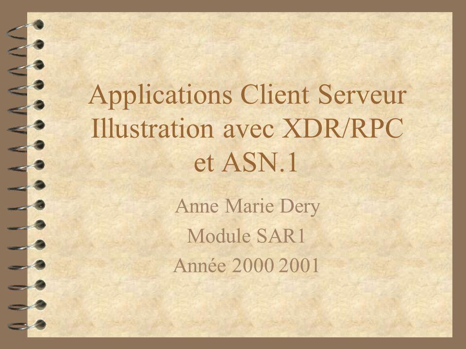 Applications Client Serveur Illustration avec XDR/RPC et ASN.1 Anne Marie Dery Module SAR1 Année 2000 2001