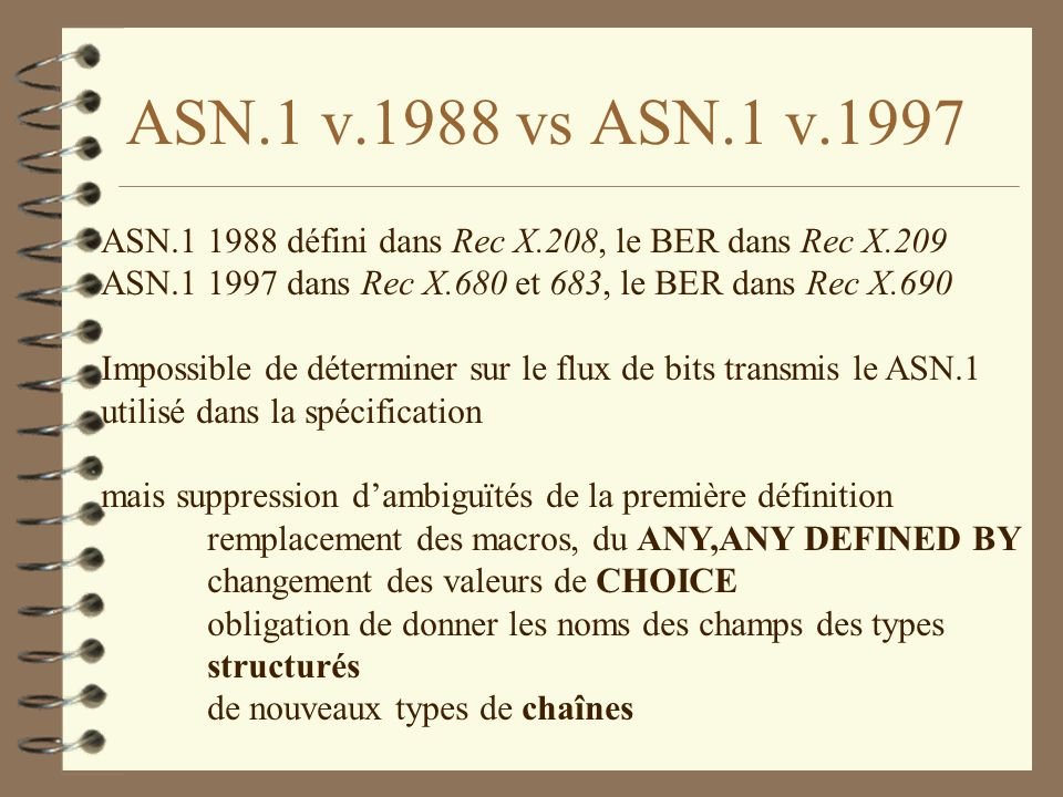 Exemple en x500 ATTRIBUTE ::= CLASS { &derivation ATTRIBUTE OPTIONAL, &Type OPTIONAL, &equality-match MATCHING-RULE OPTIONAL, &ordering-match MATCHING-RULE OPTIONAL, &substrings-match MATCHING-RULE OPTIONAL, &single-valued BOOLEAN DEFAULT FALSE, &collective BOOLEAN DEFAULT FALSE, &no-user-modification BOOLEAN DEFAULT FALSE, &usage Attribute-Usage DEFAULT userApplications, &id OBJECT IDENTIFIER UNIQUE }