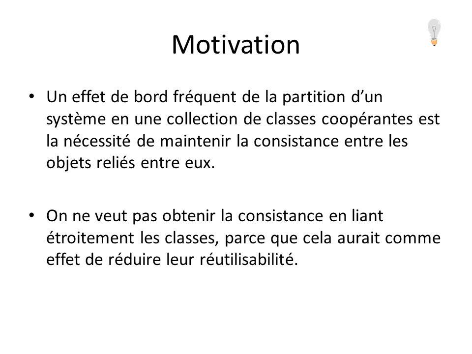 Motivation Un effet de bord fréquent de la partition dun système en une collection de classes coopérantes est la nécessité de maintenir la consistance