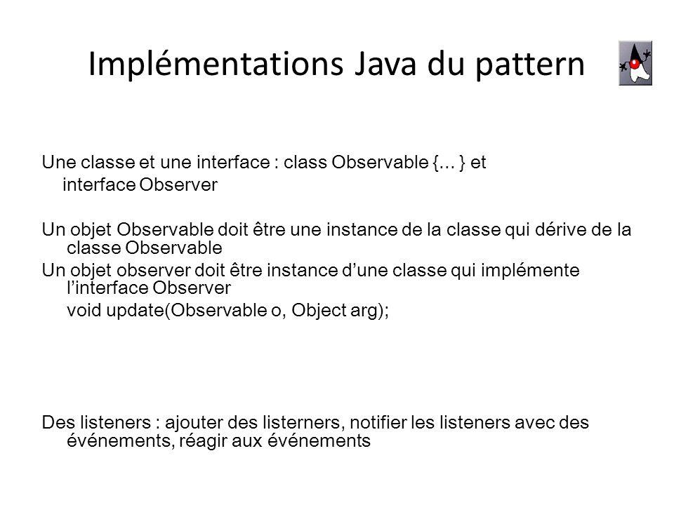 Implémentations Java du pattern Une classe et une interface : class Observable {... } et interface Observer Un objet Observable doit être une instance