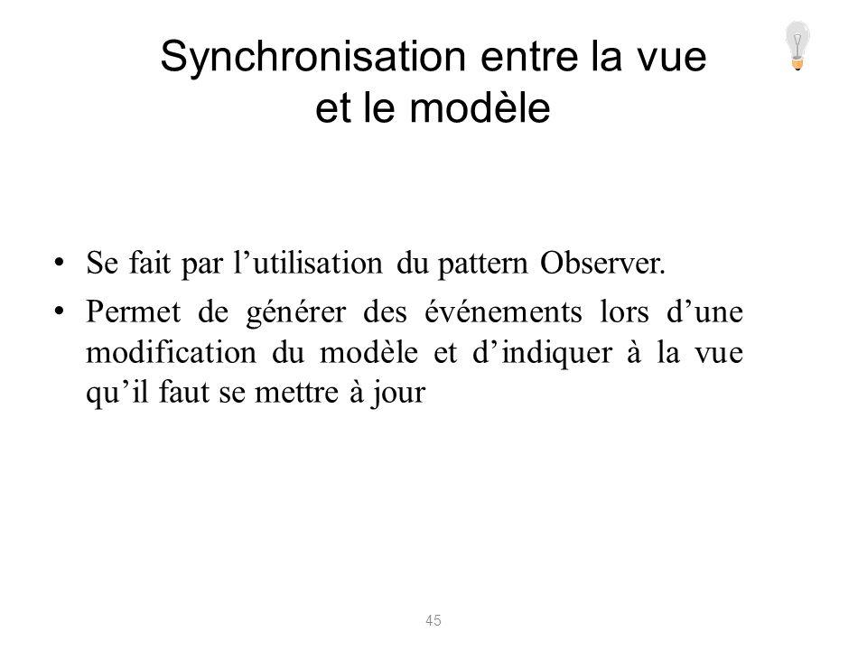 Synchronisation entre la vue et le modèle Se fait par lutilisation du pattern Observer. Permet de générer des événements lors dune modification du mod