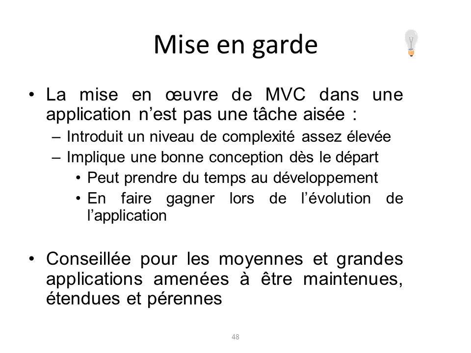 Mise en garde La mise en œuvre de MVC dans une application nest pas une tâche aisée : –Introduit un niveau de complexité assez élevée –Implique une bo