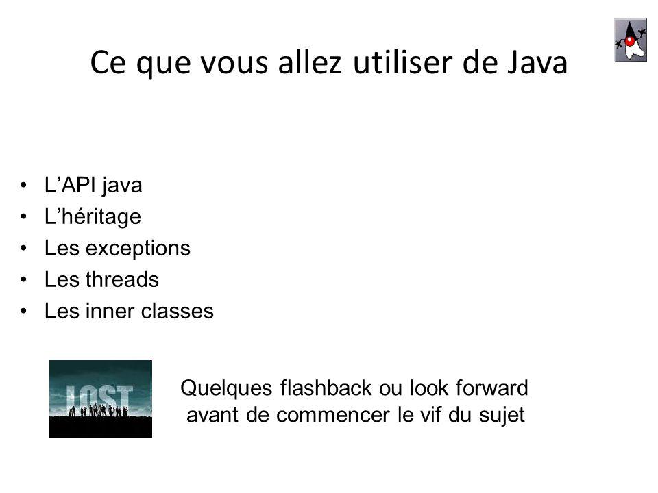 Les packages les plus importants LAPI – Les bibliothèques graphiques java.awt.* - 1ère boite à outil de java Éléments de base : Component(et Graphics) - Container et Layout (LayoutManager) java.swing.* - extension (dabord JFC puis intégré depuis jdk 1.2) faire que tout fonctionne de manière identique partout – Les événements Chaque élément graphique subit des événements : principe du CallBack appel aux écouteurs par l écouté lorsque lévénement se produit java.awt.event.* et java.swing.event – La réflexivité java.reflect.* - les classes qui décrivent les concepts de java