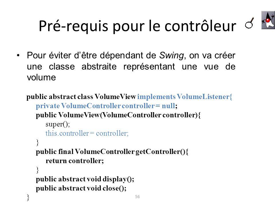 Pré-requis pour le contrôleur Pour éviter dêtre dépendant de Swing, on va créer une classe abstraite représentant une vue de volume 56 public abstract