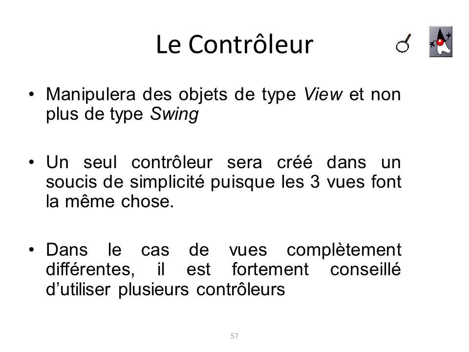 Le Contrôleur Manipulera des objets de type View et non plus de type Swing Un seul contrôleur sera créé dans un soucis de simplicité puisque les 3 vue