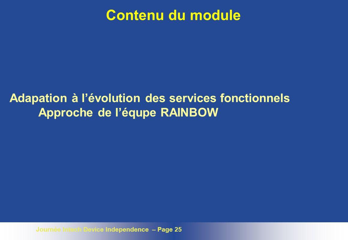 Journée Intech Device Independence – Page 25 Contenu du module Adapation à lévolution des services fonctionnels Approche de léqupe RAINBOW