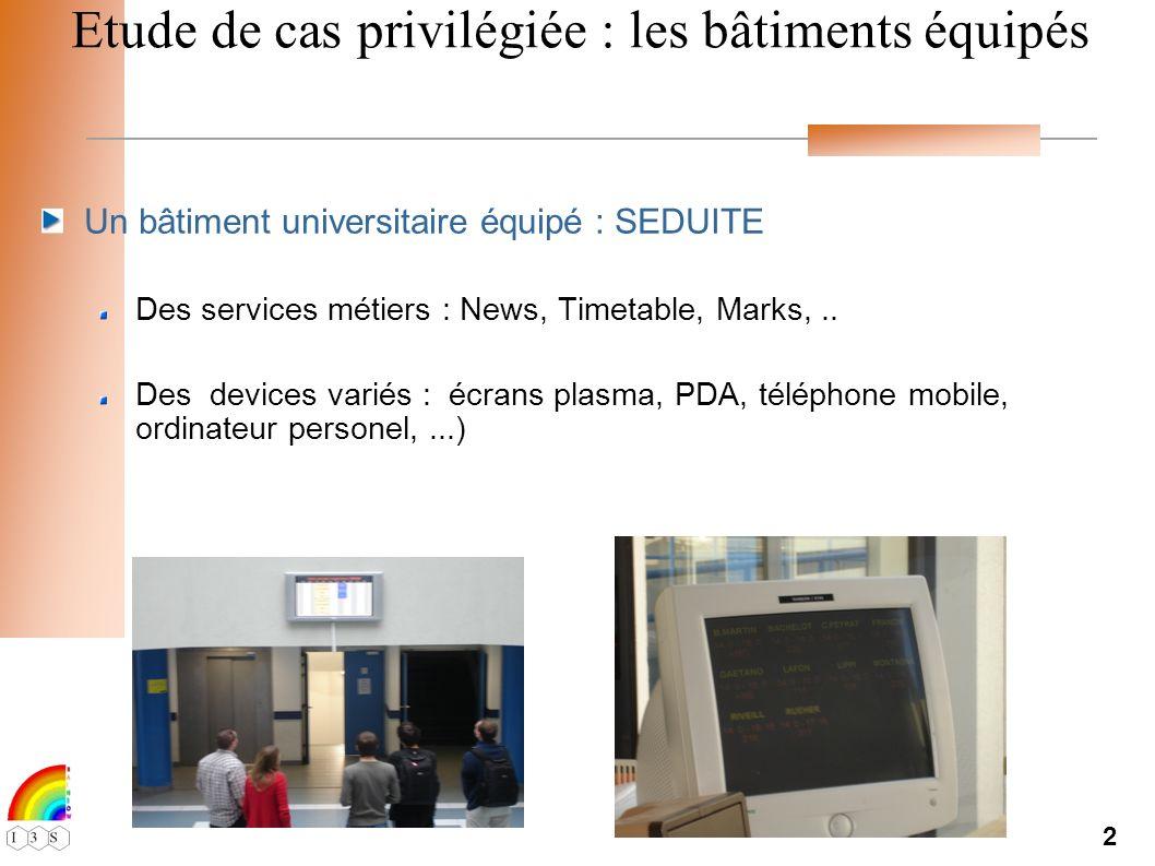 2 Etude de cas privilégiée : les bâtiments équipés Un bâtiment universitaire équipé : SEDUITE Des services métiers : News, Timetable, Marks,..