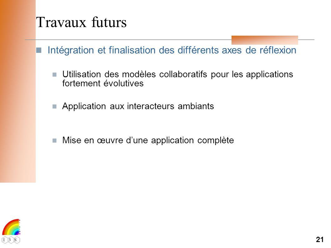 21 Travaux futurs Intégration et finalisation des différents axes de réflexion Utilisation des modèles collaboratifs pour les applications fortement évolutives Application aux interacteurs ambiants Mise en œuvre dune application complète