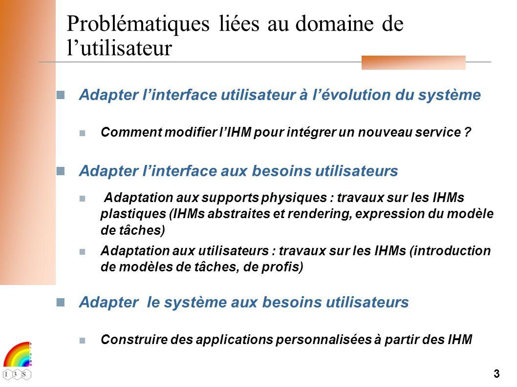 3 Problématiques liées au domaine de lutilisateur Adapter linterface utilisateur à lévolution du système Comment modifier lIHM pour intégrer un nouveau service .