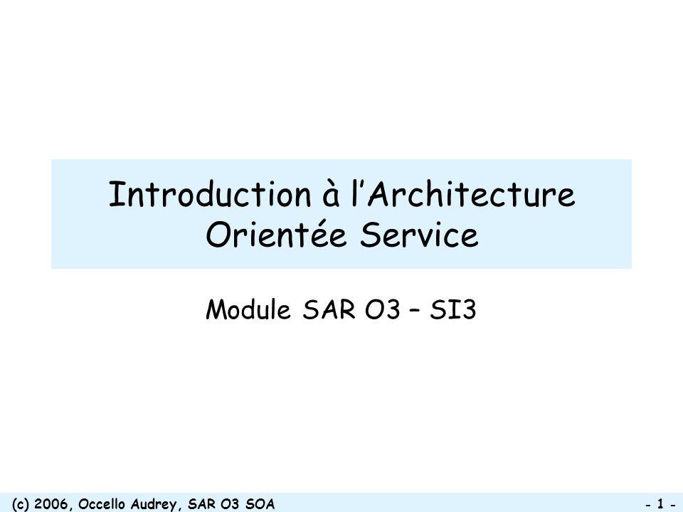 (c) 2006, Occello Audrey, SAR O3 SOA - 1 - Introduction à lArchitecture Orientée Service Module SAR O3 – SI3
