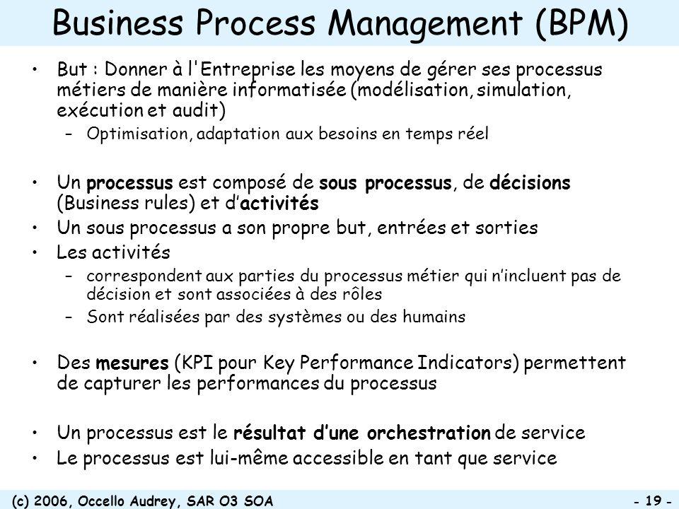 (c) 2006, Occello Audrey, SAR O3 SOA - 19 - Business Process Management (BPM) But : Donner à l'Entreprise les moyens de gérer ses processus métiers de