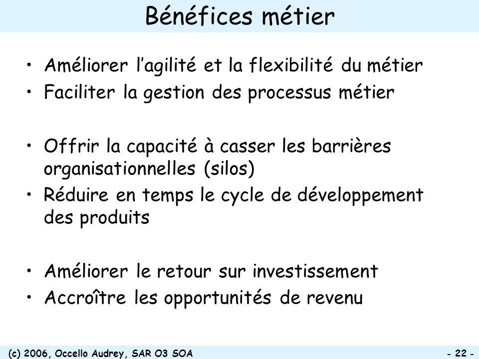 (c) 2006, Occello Audrey, SAR O3 SOA - 22 - Bénéfices métier Améliorer lagilité et la flexibilité du métier Faciliter la gestion des processus métier