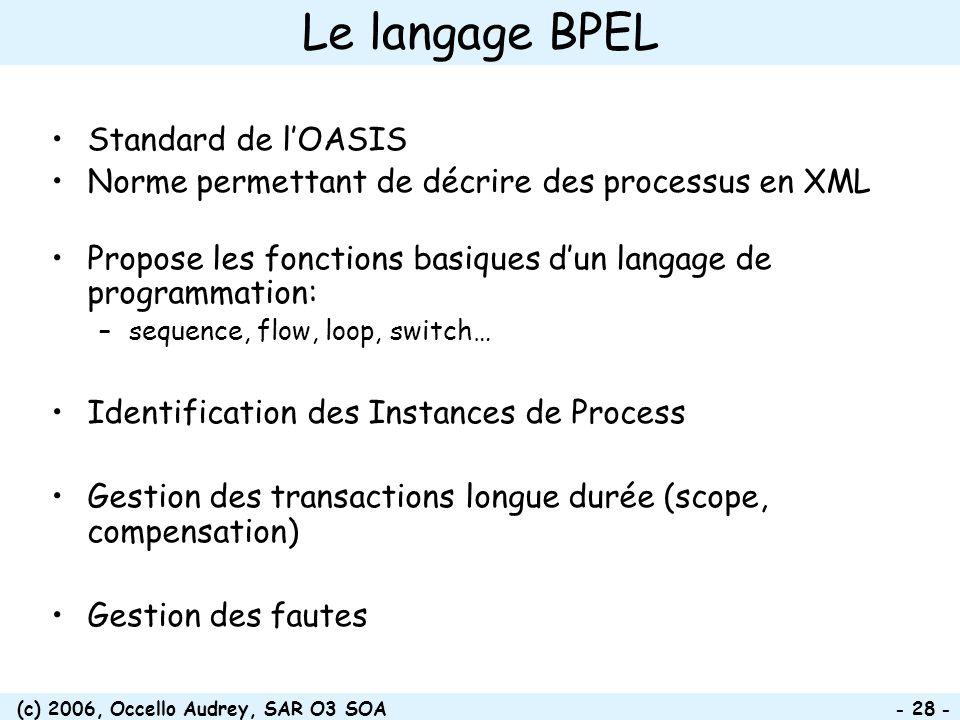 (c) 2006, Occello Audrey, SAR O3 SOA - 28 - Le langage BPEL Standard de lOASIS Norme permettant de décrire des processus en XML Propose les fonctions