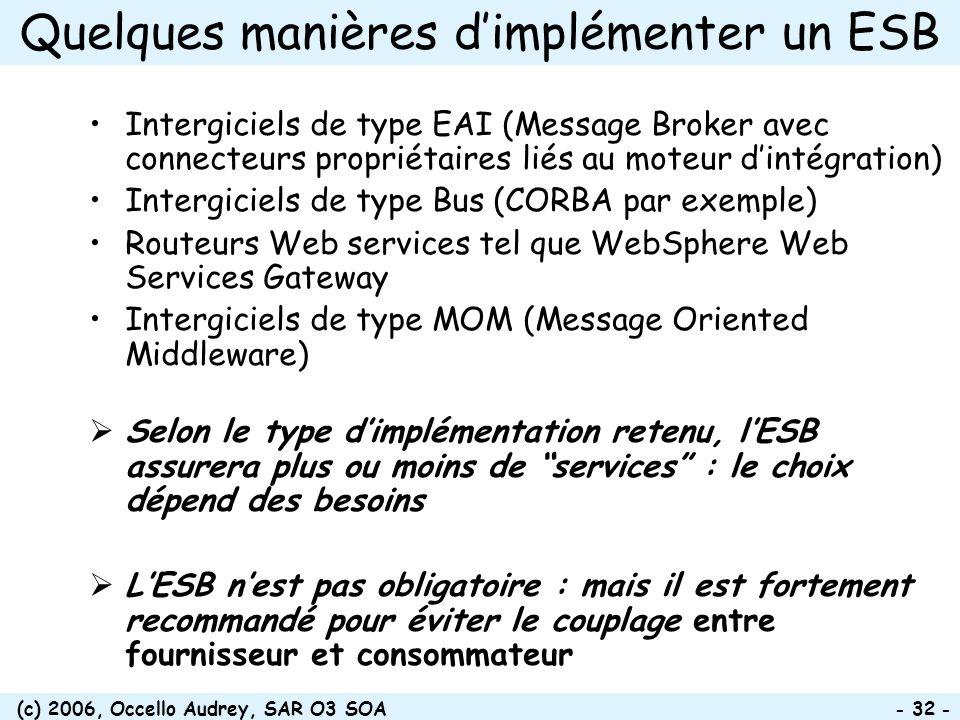 (c) 2006, Occello Audrey, SAR O3 SOA - 32 - Quelques manières dimplémenter un ESB Intergiciels de type EAI (Message Broker avec connecteurs propriétai