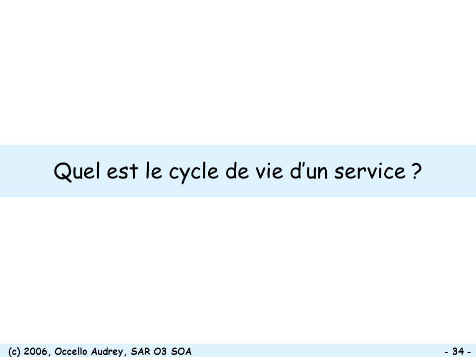 (c) 2006, Occello Audrey, SAR O3 SOA - 34 - Quel est le cycle de vie dun service ?