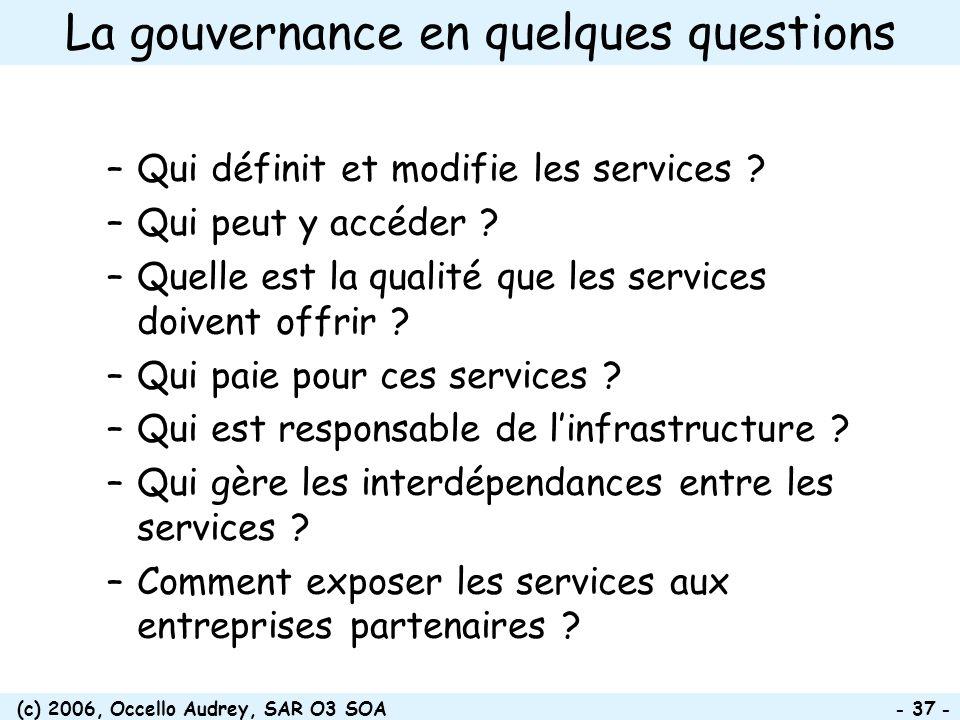 (c) 2006, Occello Audrey, SAR O3 SOA - 37 - La gouvernance en quelques questions –Qui définit et modifie les services ? –Qui peut y accéder ? –Quelle