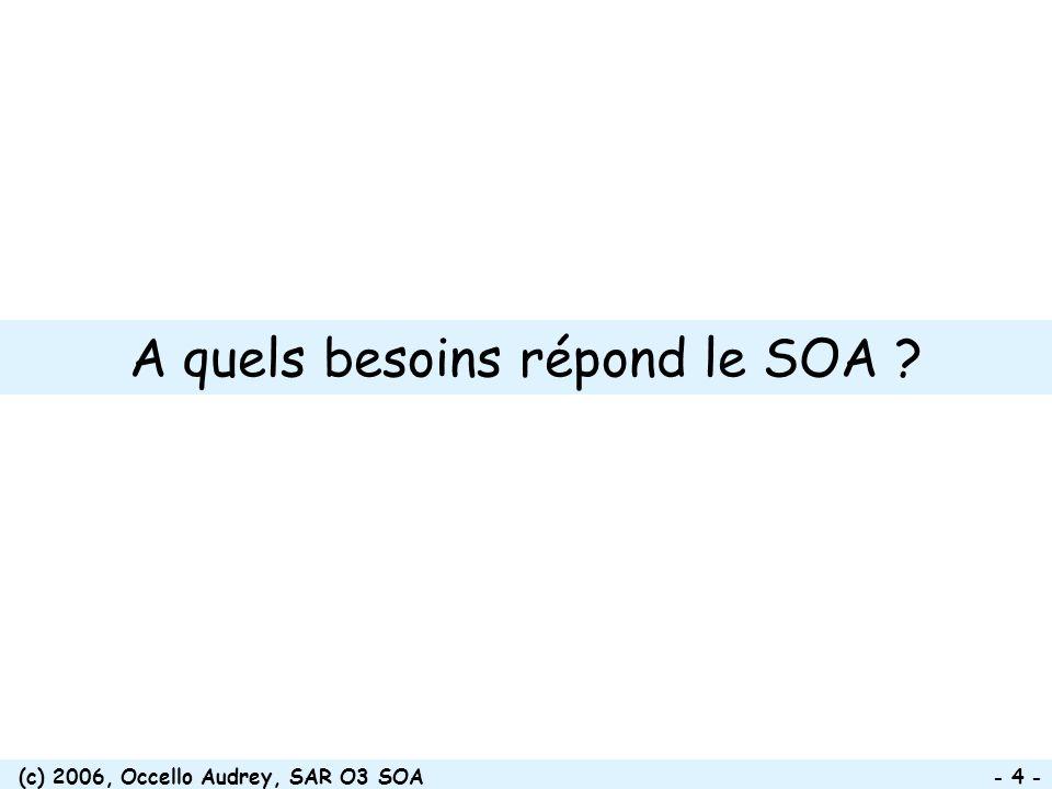 (c) 2006, Occello Audrey, SAR O3 SOA - 5 - Problématique de lintégration en entreprise Entreprises découpées en départements fonctionnels y compris le système d information (SI) Processus métiers des entreprises de + en + multi- départementaux Coûts considérables dans la gestion des flux entre départements et dans lintégration de leurs SI